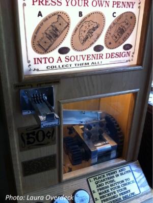 Pinched souvenir penny machine