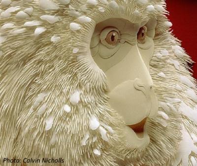 Paper animal sculpture - baboon